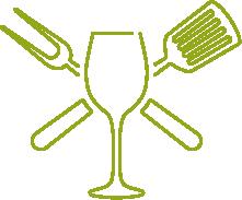 Schleimer Unternehmenslogo - ein Weinglas - eine Grillzange gekreuzt mit einem Pfannenwender